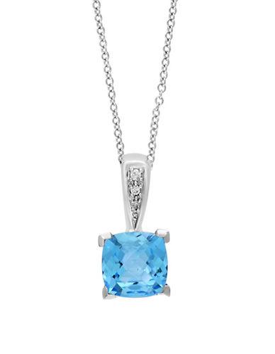 Effy 0.02 TCW Diamond, Blue Topaz & 14K White Gold Pendant Necklace-BLUE-One Size