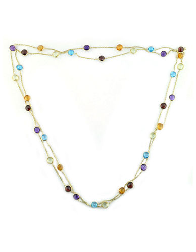 Effy 14K Yellow Gold Multi Coloured Gemstone Station Necklace-MULTI SEMI PRECIOUS STONE MIX-One Size