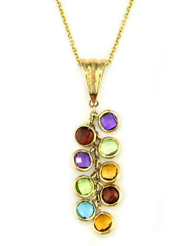 Effy 14 Kt. Yellow Gold Multi-Coloured Gemstone Station Necklace-MULTI COLOURED-One Size