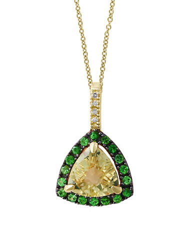 Effy Diamond and Tsavorite 14K Gold Studded Pendant Necklace-GREEN-One Size