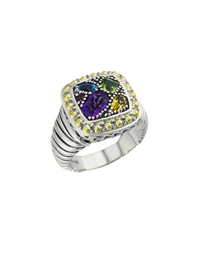 Effy Sterling Silver  18K Yellow Gold And Multi-Colour Gemstone Ring-SILVER/GOLD-7