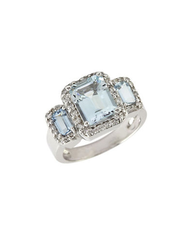 Effy 14K White Gold  Diamond And Aquamarine Ring-AQUAMARINE-7