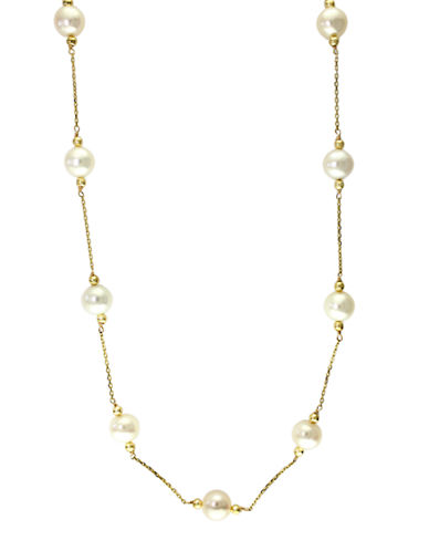 Effy 14K Yellow Gold Pearl Station Necklace-PEARL-One Size