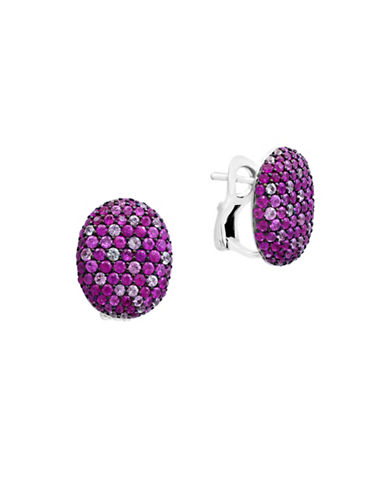 Effy Pink Sapphire Sterling Silver Paved Earrings-PINK-One Size