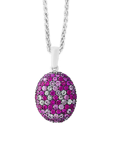 Effy Pink Sapphire Sterling Silver Paved Pendant Necklace-PINK-One Size