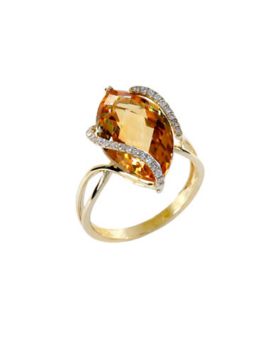 Effy 14 Kt Gold Diamond Accented Citrine Ring-ORANGE-7