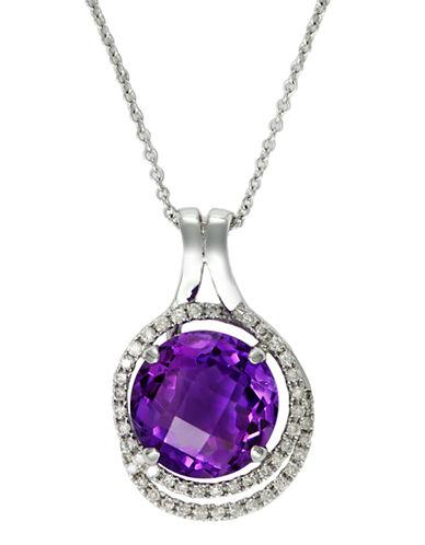 Effy 14k White Gold Diamond and Amethyst Circle Pendant Necklace-DIAMOND-One Size