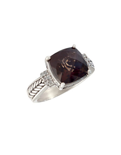 Effy Sterling Silver Diamond and Smoky Quartz Ring-RED-One Size