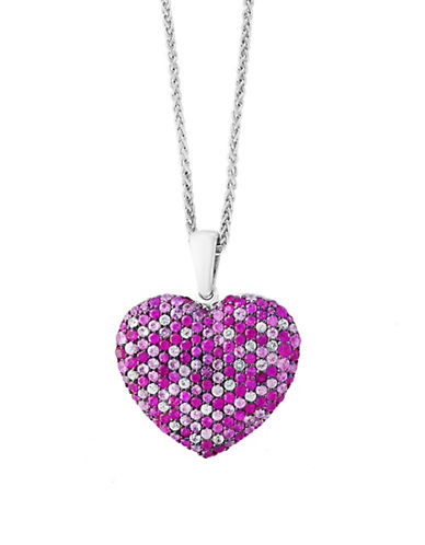 Effy Pink Sapphire Sterling Silver Heart Paved Pendant Necklace-PINK-One Size