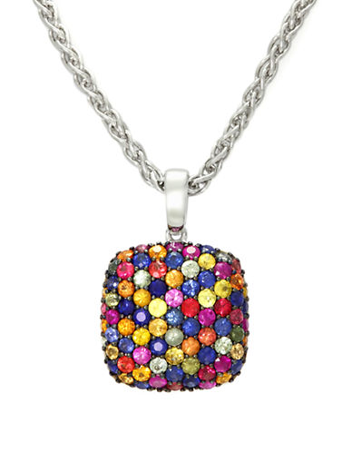 Effy Sterling Silver Multi Coloured Sapphire Pendant-MULIT COLOURED-One Size