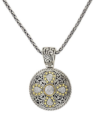 Effy Sterling Silver And 18K Yellow Gold Diamond Pendant-DIAMOND-One Size