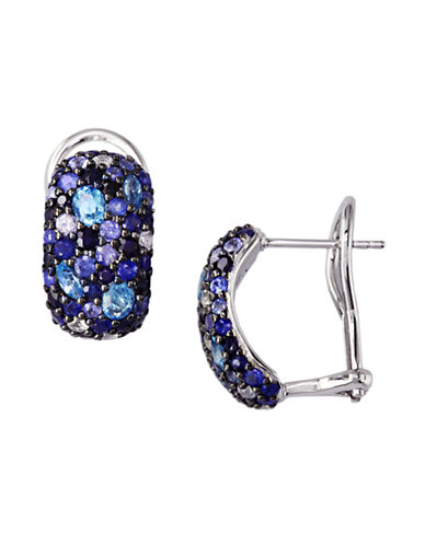 Effy Sterling Silver Multi Sapphire Earrings-MULTI COLOURED BLUE-One Size