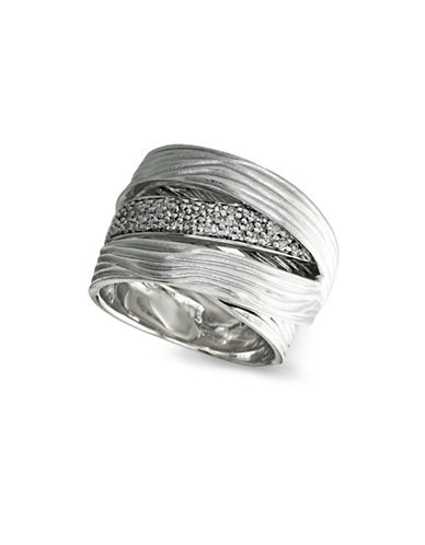 Effy 0.925 Sterling Silver and 0.32 TCW Diamond Textured Ring-SILVER-7