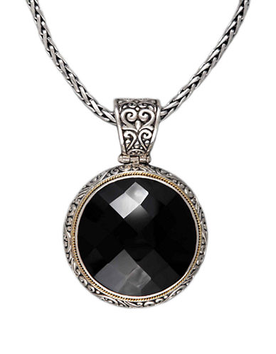 Effy Sterling Silver  18K Yellow Gold And Onyx Pendant-ONYX-One Size