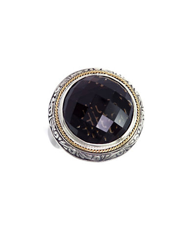 Effy 18K Yellow Gold and Silver Onyx Ring-ONYX-7