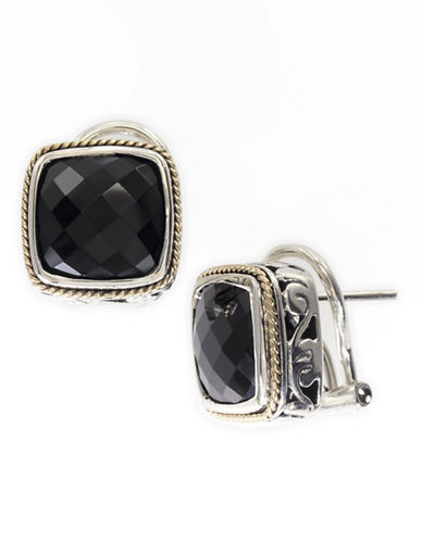 Effy 18k Yellow Gold and Silver Onyx Earrings-ONYX-One Size