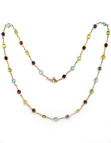 Effy 14 Kt Yellow Gold Multi Colour Station Necklace-MULTI SEMI PRECIOUS STONE MIX-One Size