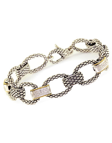 Effy Sterling Silver  18K Yellow Gold And Diamond Link Bracelet-DIAMOND-One Size