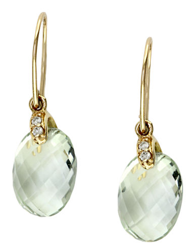 Effy 14K Yellow Gold  Diamond And Green Amethyst Earrings-AMETHYST-One Size