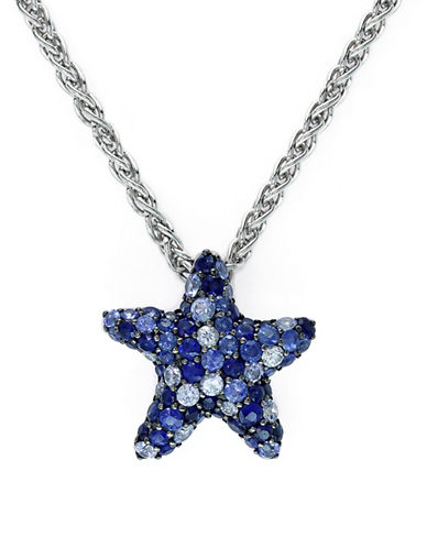 Effy Silver and Sapphire Star Pendant Necklace-SILVER-One Size