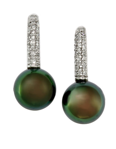Effy 14K White Gold Diamond And Tahitian Pearl Earrings-DIAMOND/BLACK PEARL-One Size