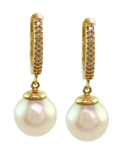 Effy 14K Yellow Gold Diamond And Freshwater Pearl Earrings-PEARL-One Size