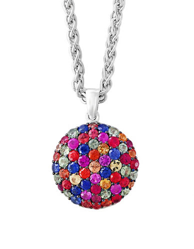 Effy Sterling Silver Paved Pendant Necklace-BLUE MULTI-One Size