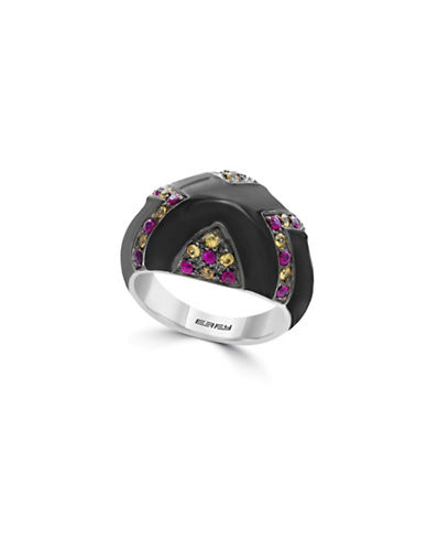 Effy Multi Sapphire and Enamel Sterling Silver Geometric Ring-MULTI-7