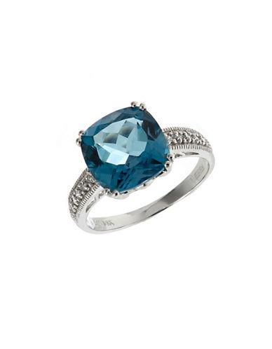 Effy 14K White Gold  Diamond and London Blue Topaz Ring-MULTI COLOURED-7