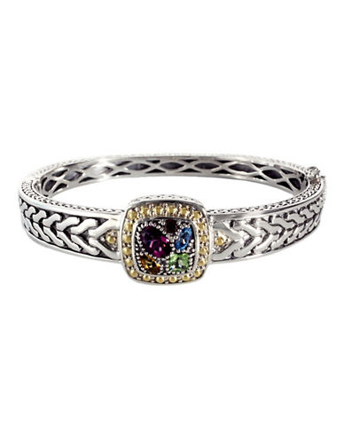 Effy Sterling Silver  18K Yellow Gold And Multi Semi Precious Stone Bangle-MULTI SEMI PRECIOUS STONE MIX-One Size