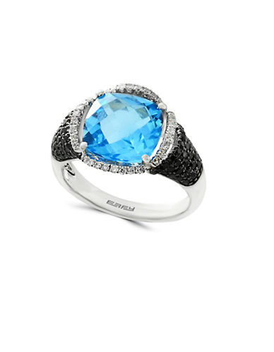 Effy 14K White Gold Diamond 0.59TCW Blue Topaz Ring-BLUE-7