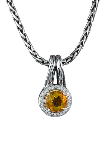 Effy Sterling Silver and 18k Gold  Citrine and Diamond Pendant-CITRINE-One Size