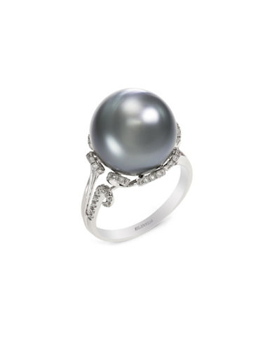 Effy 14k White Gold Diamond and Black and Tahitian Pearl Ring-PEARL-One Size