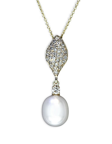 Effy 14K Yellow Gold 0.31 TCW Diamond and Freshwater Pearl Drop Pendant Necklace-WHITE-One Size