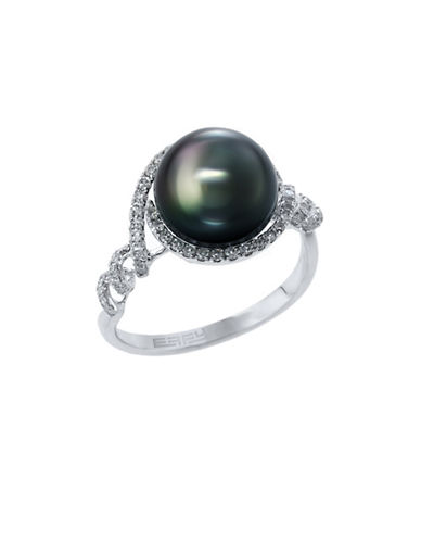 Effy 14k White Gold Diamond and Black Tahitian Pearl Ring-BLACK PEARL-7