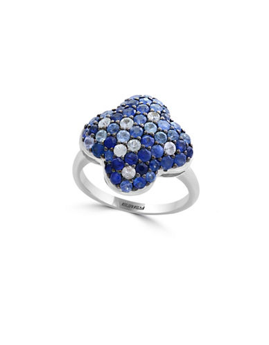 Effy Sapphire and Sterling Silver Floral Ring-BLUE-7