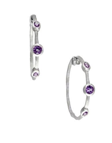 Effy 925 Sterling Silver and Amethyst Hoop Earrings-PURPLE-One Size