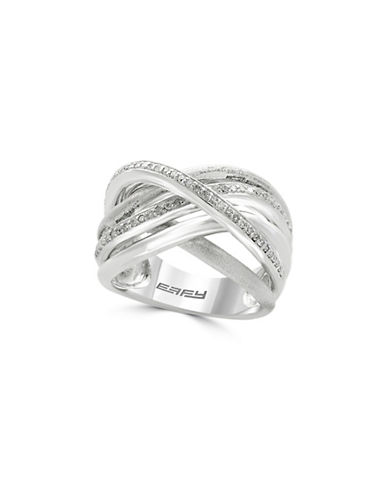 Effy 0.925 Sterling Silver and 0.28 TCW Diamonds Interlocked Ring-DIAMOND-7