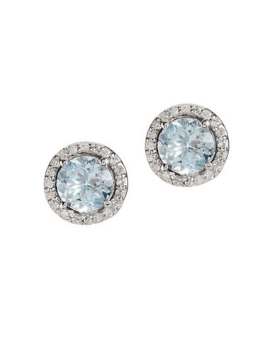 Effy 14K White Gold Diamond Aquamarine Earrings-AQUAMARINE-One Size