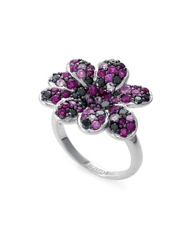 Effy Ruby, Sterling Silver Floral Ring-RED-7