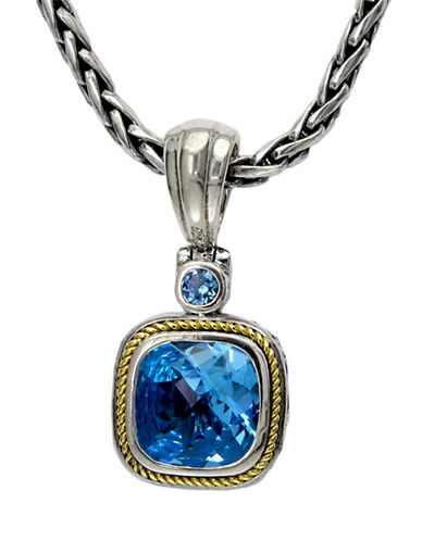 Effy Sterling Silver  18K Gold And Blue Topaz Pendant-TOPAZ-One Size