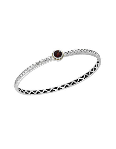 Effy 925 Sterling Silver 18K Yellow Gold Garnet Bangle-RED-One Size