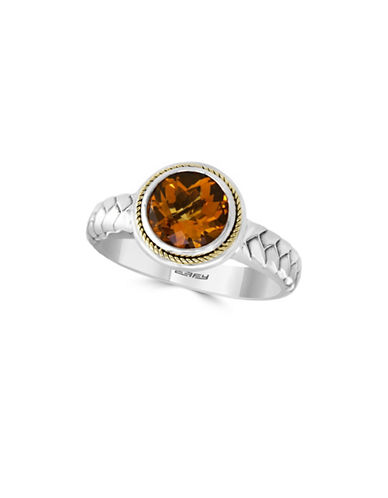 Effy 925 Sterling Silver and 18K Yellow Gold Ring with Citrine Stone-ORANGE-7
