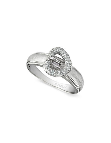 Effy 0.2 TCW Diamond Heart, Sterling Silver Ring-WHITE-7