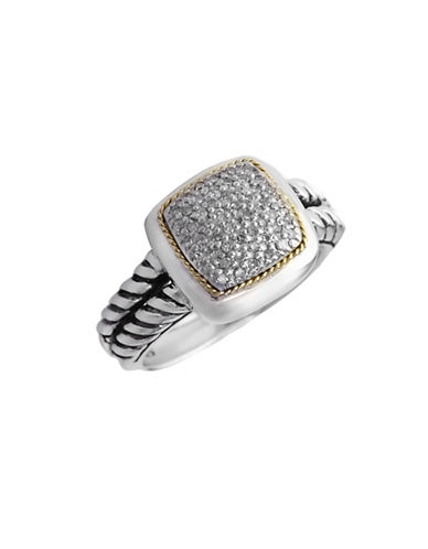 Effy Sterling Silver Yellow Gold And 0.23ct Diamond Ring-DIAMOND-7