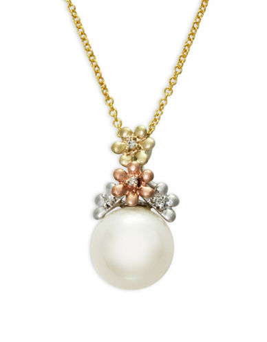 Effy 10MM Freshwater Pearl and Diamond 14K Trio Gold Necklace-WHITE-One Size
