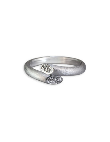Effy 0.13 TCW Diamond, Sterling Silver Overlap Ring-WHITE-7
