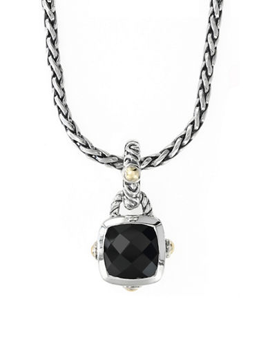 Effy 18k Yellow Gold and Silver Onyx Pendant-SILVER-One Size