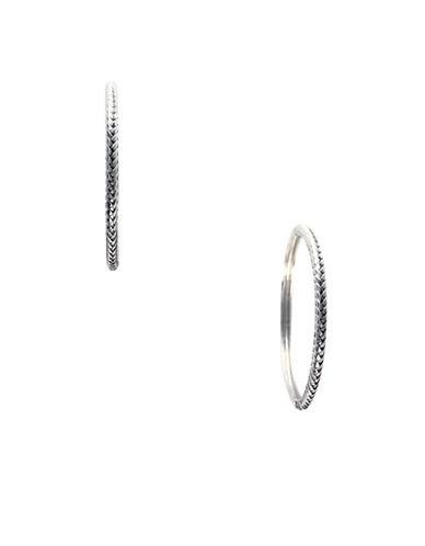 Effy Sterling Silver Woven Hoop Earrings-WHITE-One Size