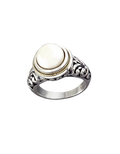 Effy Sterling Silver 18K Yellow Gold And Cultured Freshwater Pearl Ring-PEARL-7